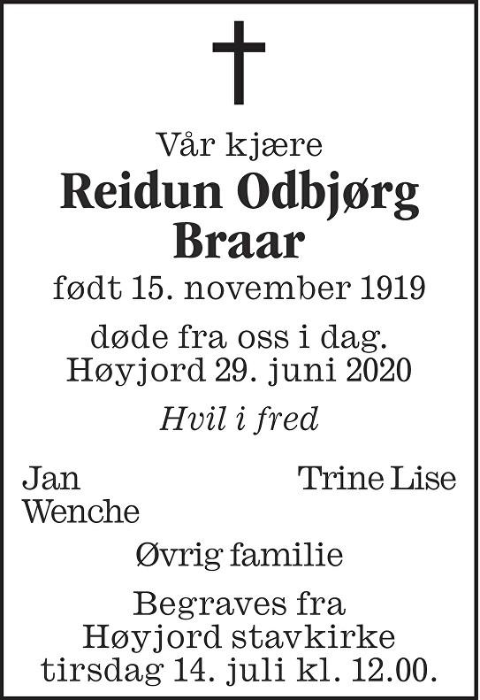 Reidun Odbjørg Braar Dødsannonse