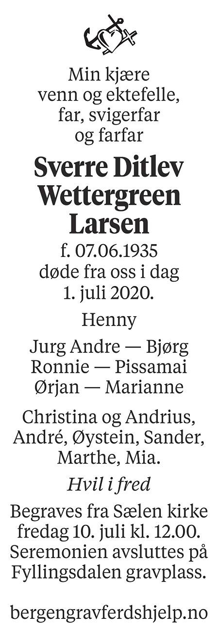 Sverre Ditlev Wettergreen Larsen Dødsannonse