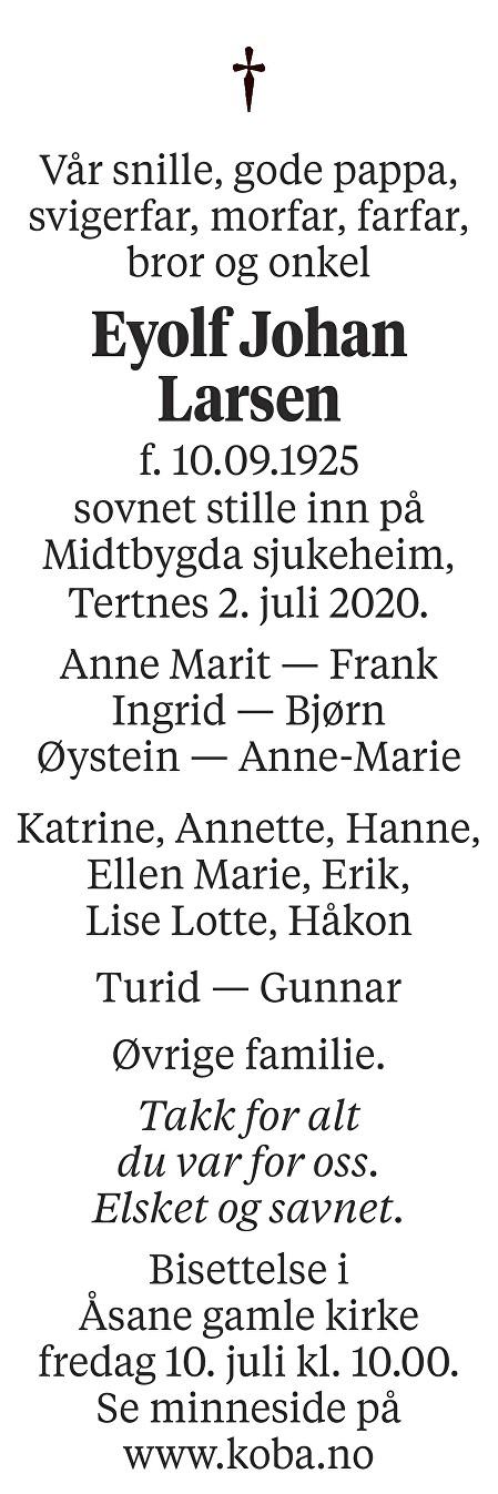 Eyolf Johan Larsen Dødsannonse