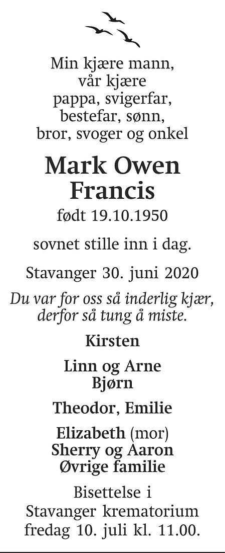 Mark Owen Francis Dødsannonse
