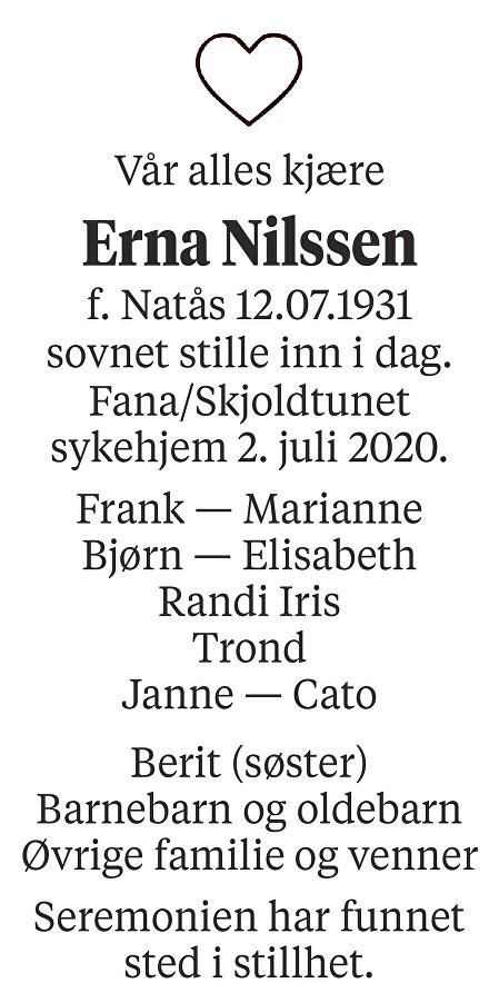 Erna  Nilssen Dødsannonse