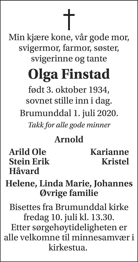 Olga Finstad Dødsannonse