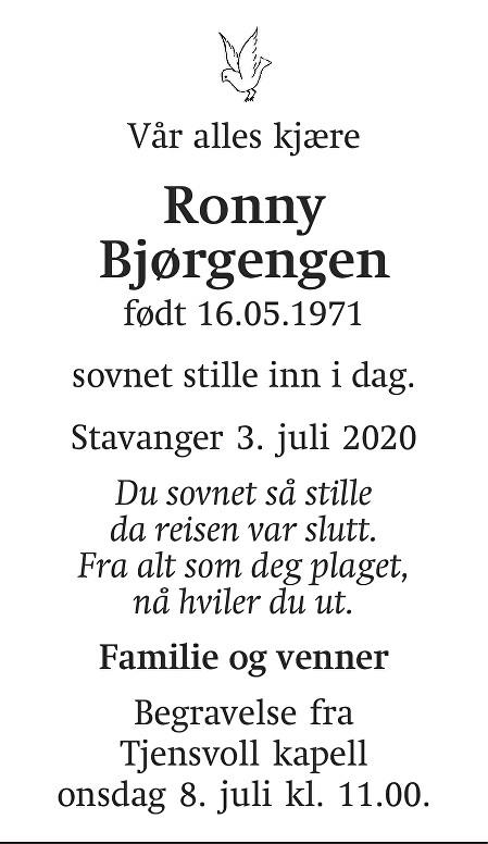 Ronny Bjørgengen Dødsannonse