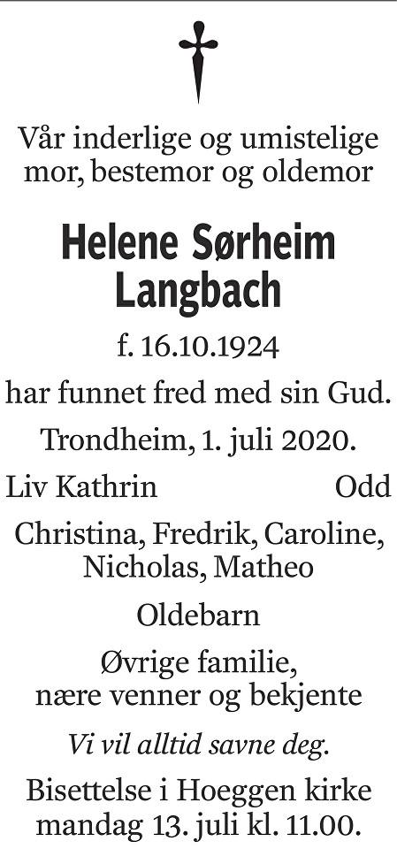Helene Sørheim Langbach Dødsannonse