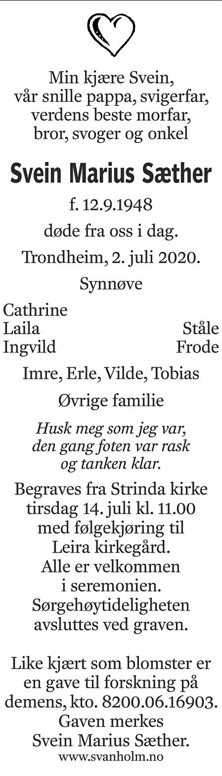 Svein Marius Sæther Dødsannonse