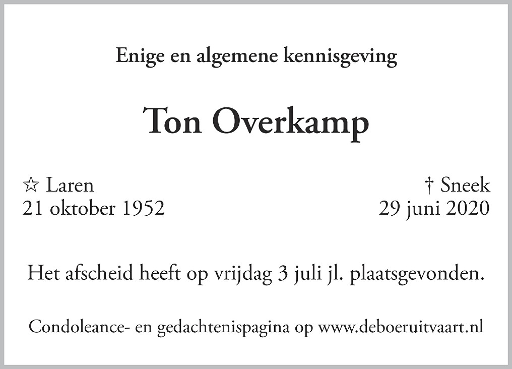 Antonius Gijsbertus Reinier Overkamp Death notice