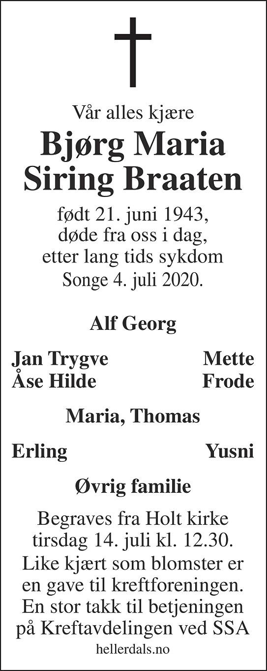 Bjørg Maria Siring Braaten Dødsannonse