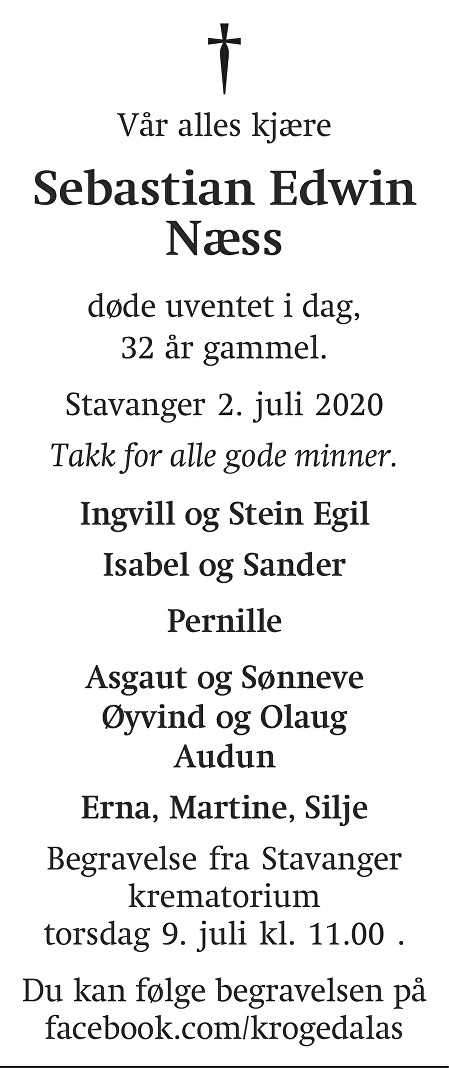 Sebastian Edwin Næss Dødsannonse