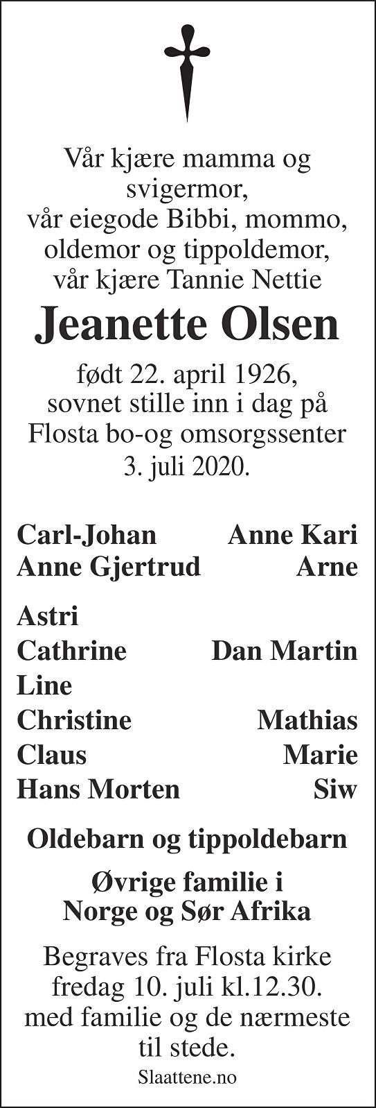 Jeanette Olsen Dødsannonse