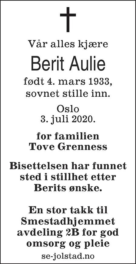 Berit Marie Aulie Dødsannonse
