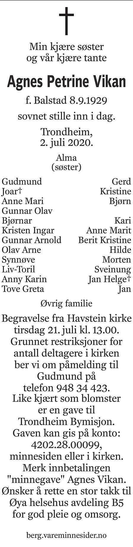 Agnes Petrine Vikan Dødsannonse