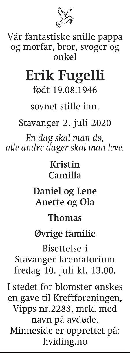 Erik Fugelli Dødsannonse