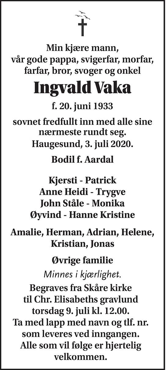 Ingvald Vaka Dødsannonse