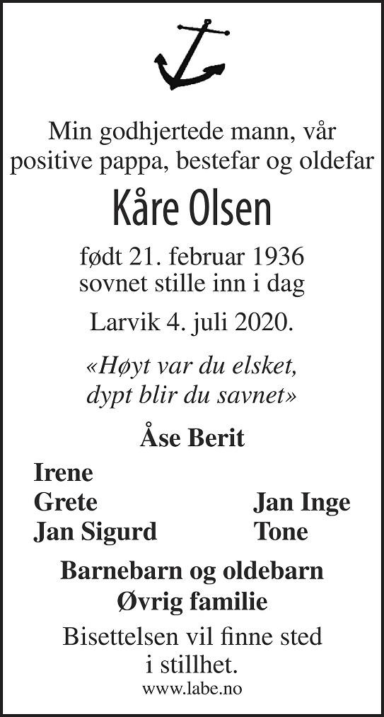 Kåre Olsen Dødsannonse