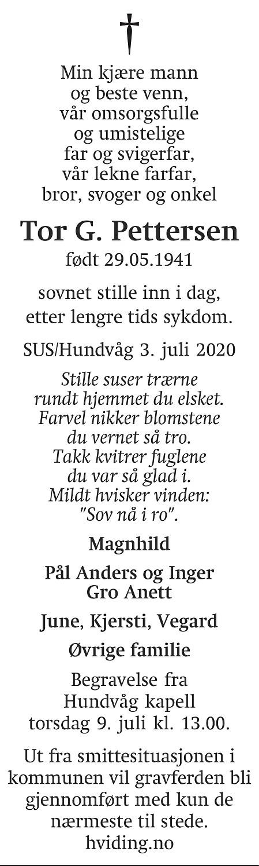 Tor Gerhard Pettersen Dødsannonse