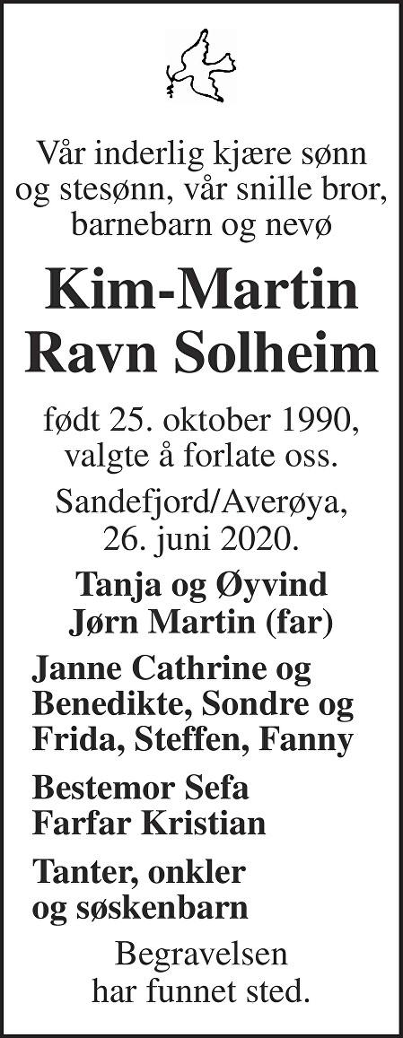 Kim-Martin Ravn Solheim Dødsannonse