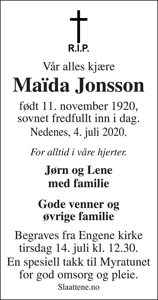 Maida Jonsson Dødsannonse