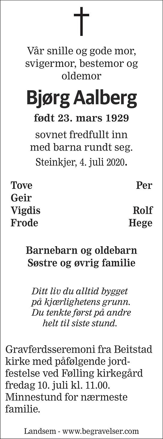 Bjørg Aalberg Dødsannonse