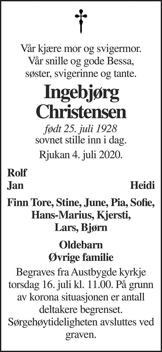 Ingebjørg K Christensen Dødsannonse