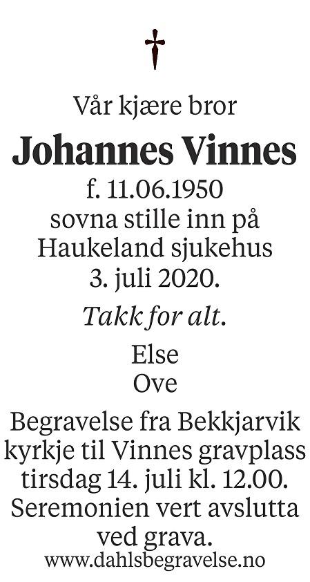Johannes Vinnes Dødsannonse