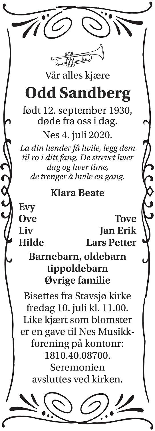 Odd Sandberg Dødsannonse