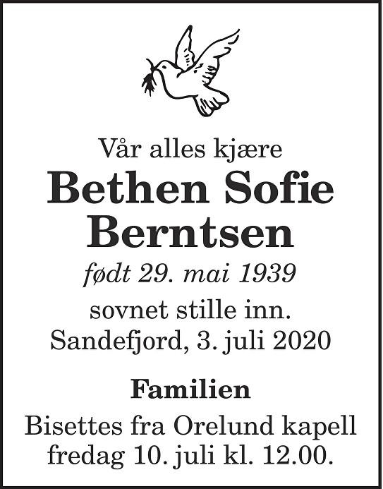 Bethen Sofie  Berntsen Dødsannonse
