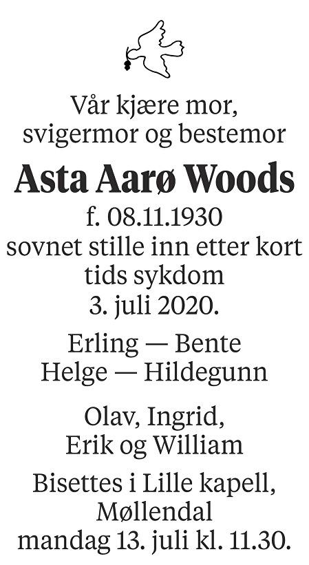 Asta Aarø Woods Dødsannonse