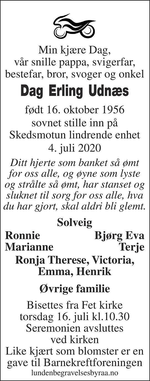 Dag Erling Udnæs Dødsannonse