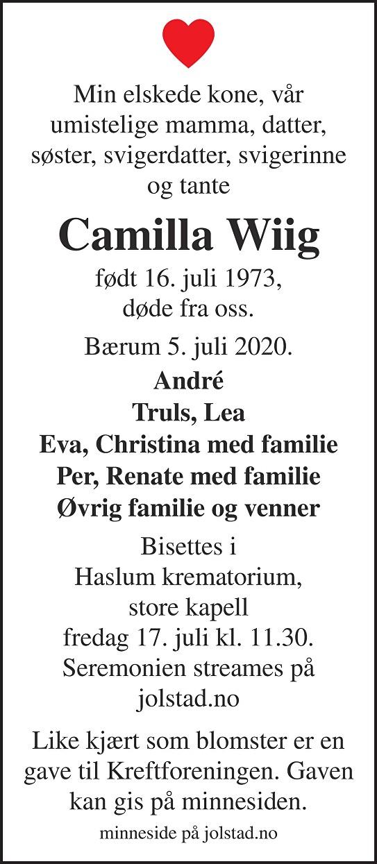 Camilla Wiig Dødsannonse