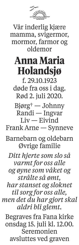 Anna Maria  Holandsjø Dødsannonse