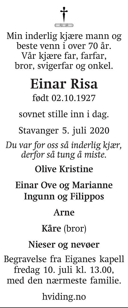 Einar  Risa Dødsannonse