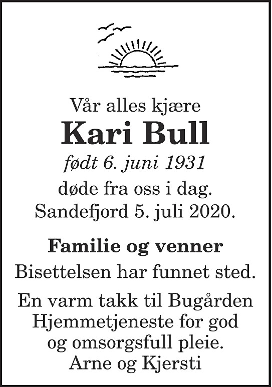 Kari Bull Dødsannonse