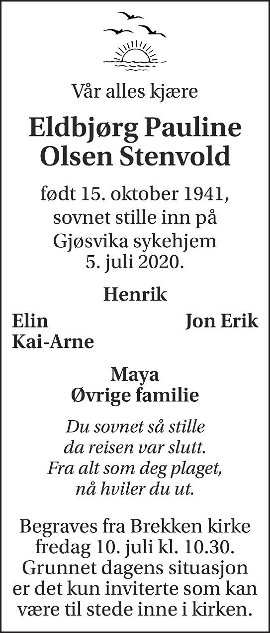 Eldbjørg Pauline  Olsen Stenvold Dødsannonse