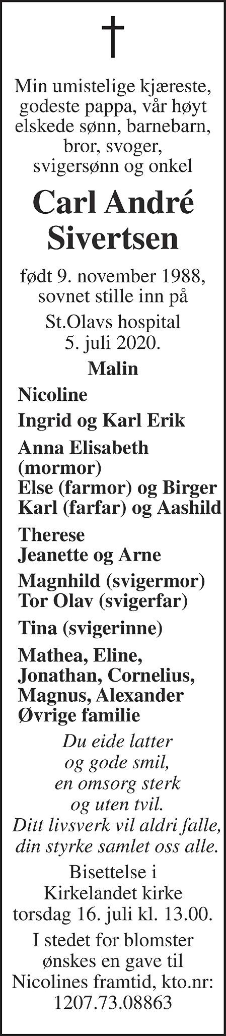 Carl André Sivertsen Dødsannonse