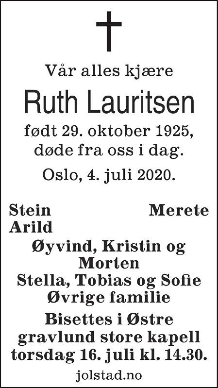 Ruth Lauritsen Dødsannonse