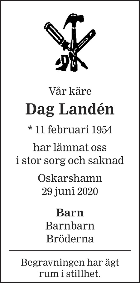 Dag Landén Death notice