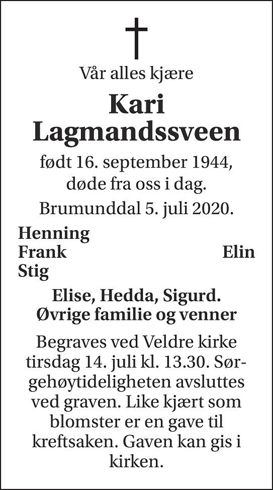Kari Lagmandssveen Dødsannonse