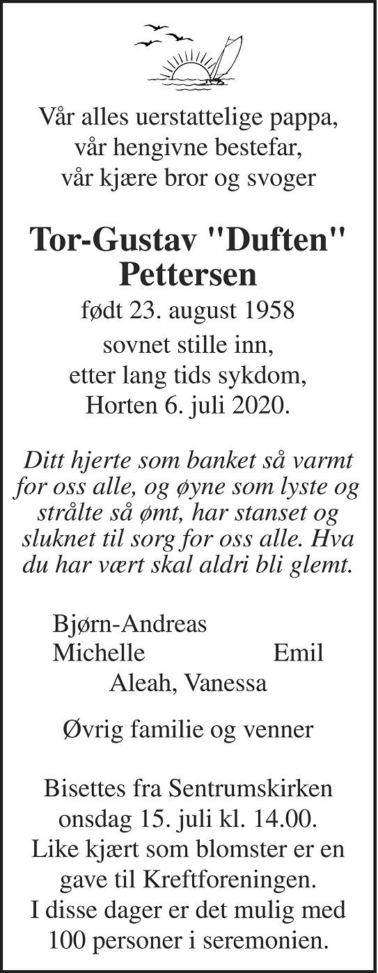 Tor-Gustav Pettersen Dødsannonse