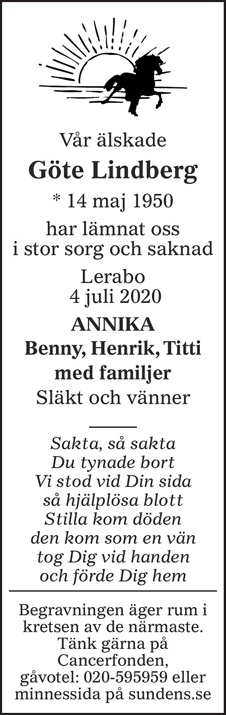 Göte Lindberg Death notice