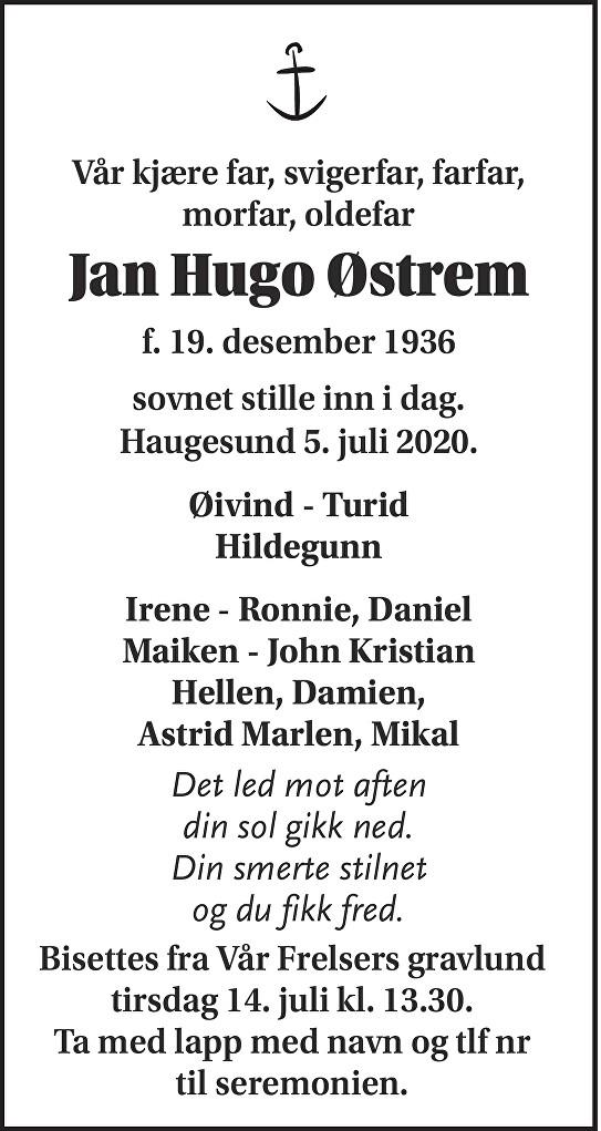 Jan Hugo Østrem Dødsannonse