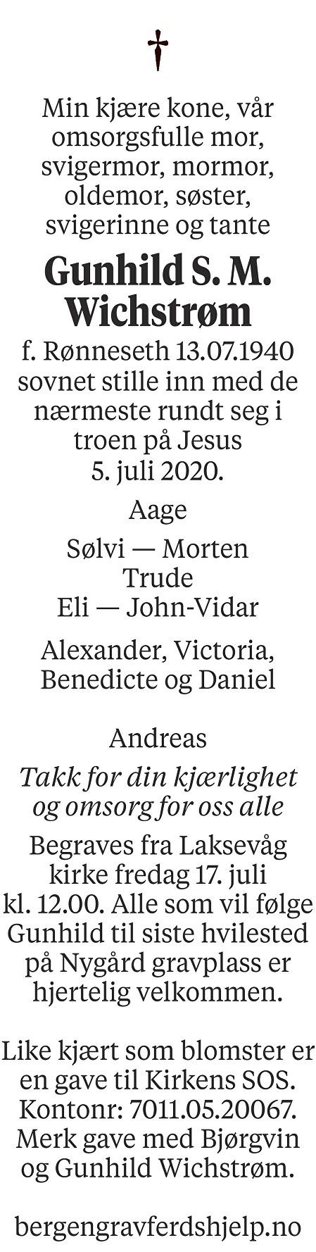 Gunhild S. M.  Wichstrøm Dødsannonse