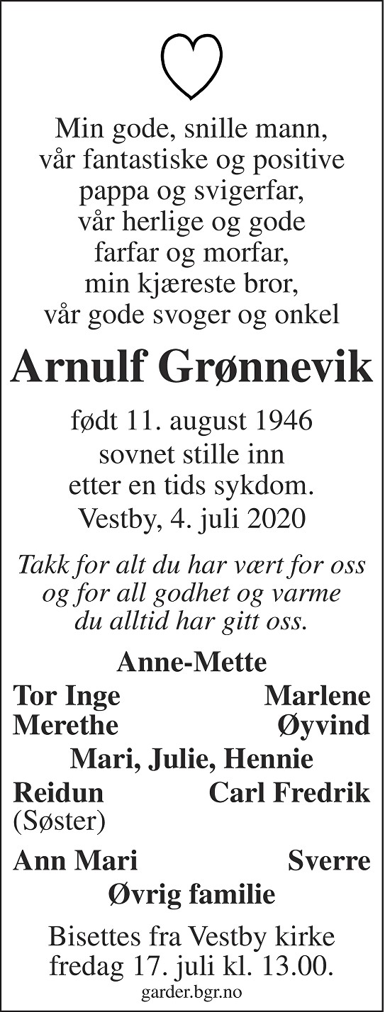 Arnulf Grønnevik Dødsannonse