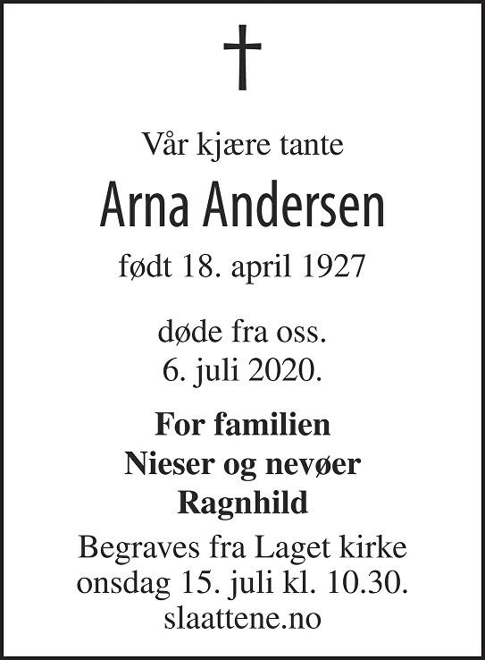 Arna Andersen Dødsannonse