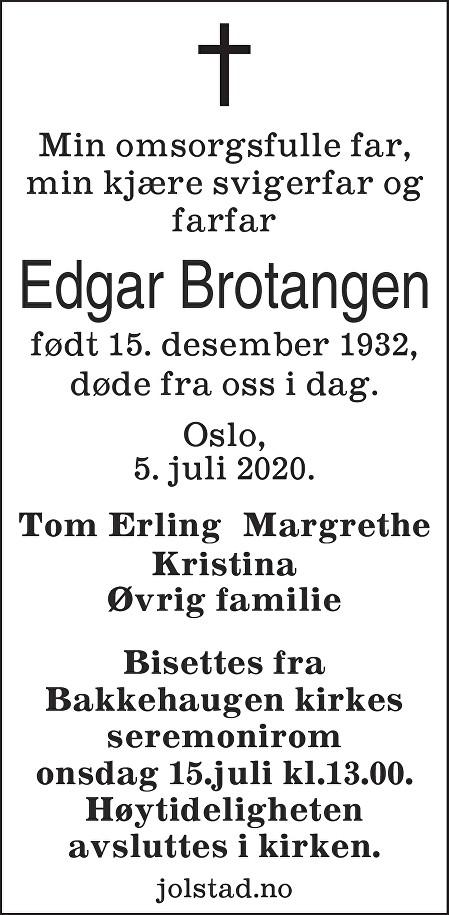 Edgar Brotangen Dødsannonse