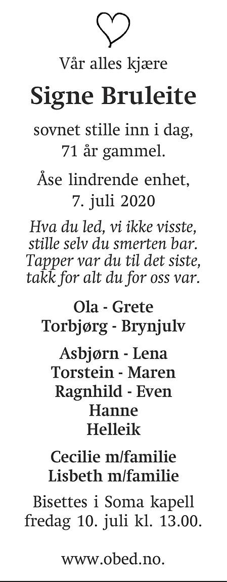 Signe Bruleite Dødsannonse