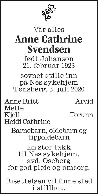 Anne Cathrine Svendsen Dødsannonse