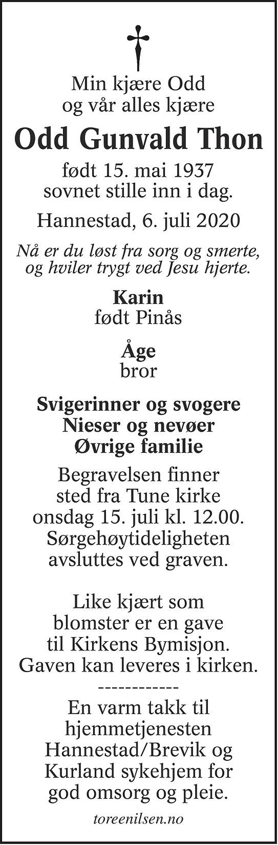 Odd Gunvald Thon Dødsannonse
