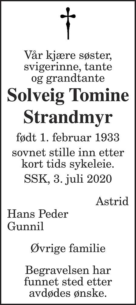 Solveig Tomine Strandmyr Dødsannonse