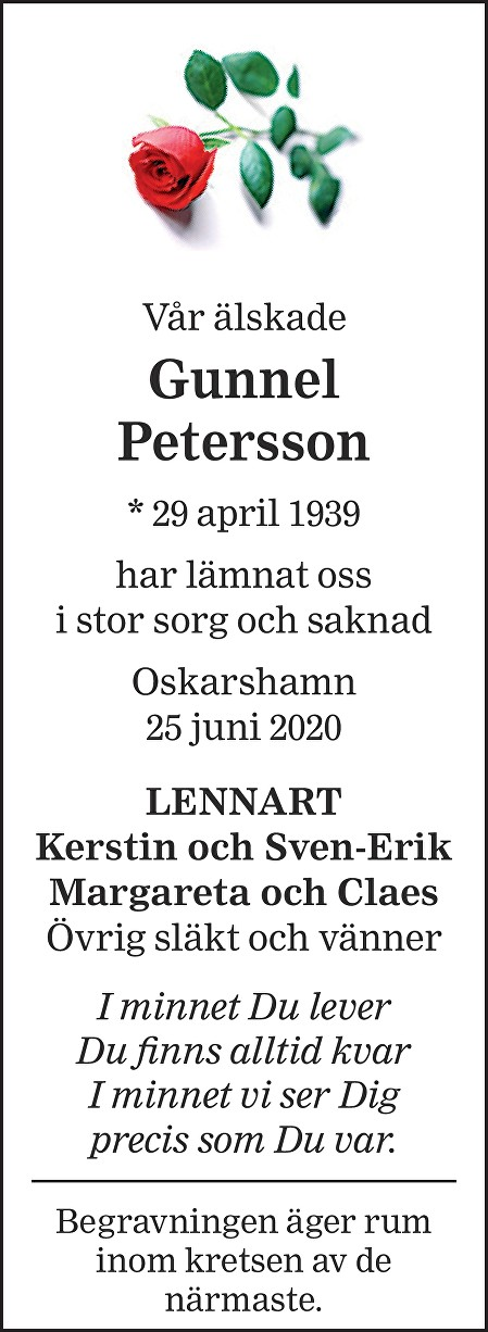 Gunnel Petersson Death notice