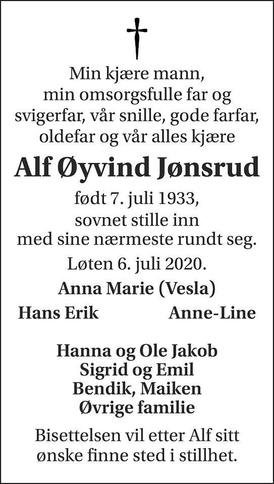 Alf Øyvind Jønsrud Dødsannonse